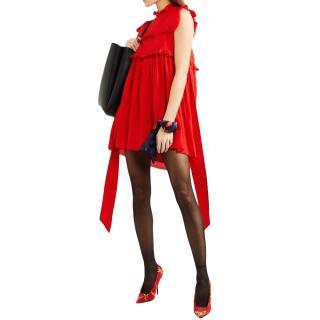 Balenciaga Micro Polkadot Red Sleeveless Mini Dress