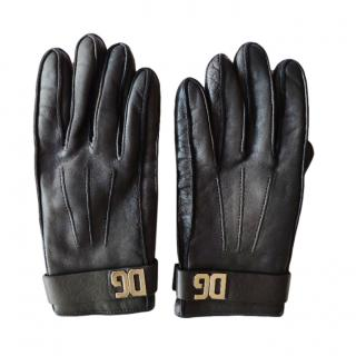 Dolce & Gabbana DG Black Leather Gloves
