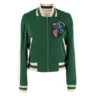 Maje Green Bacary Embroidered Satin Bomber Jacket