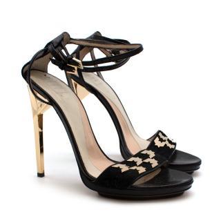 Herve Leger Black Leather Strappy Heeled Platform Sandals