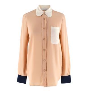 See by Chloe Nude Silk Long Sleeve Shirt