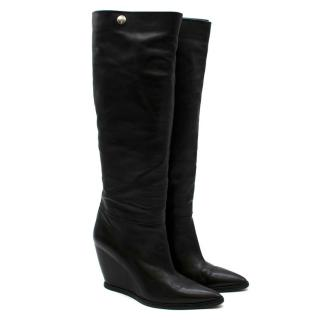 Costume National Black Long Leather Wedge Boots