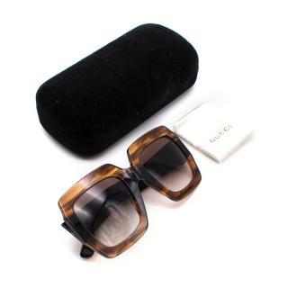 Gucci Brown Oversized GG Angular Sunglasses