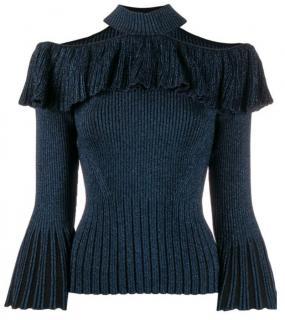 Self-Portrait Lurex Blue Frill Knit Top