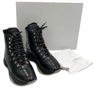 Jimmy Choo Inca Black Embossed Hiking Boots