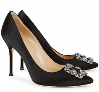 Manolo Blahnik Black Satin Hangisi Pumps