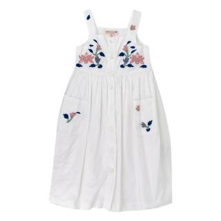 Bonpoint White Long Floral Embroidered Dress