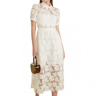 Self Portrait Grosgrain Trimmed Guipure Lace Midi Dress