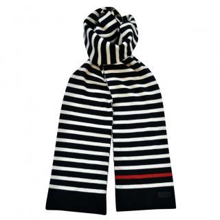 Saint Laurent Black & White Striped Wool Scarf