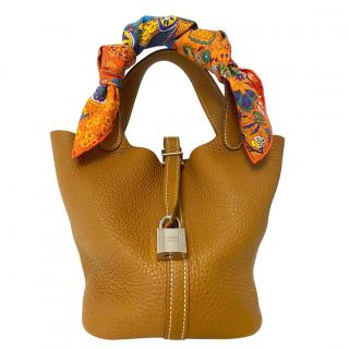Hermes Gold Clemence Leather Picotin Lock 22 PHW