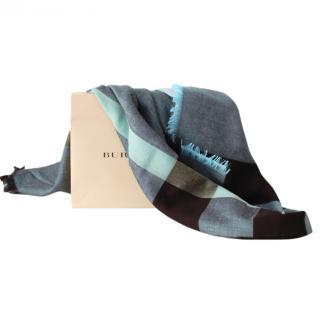 Burberry Blue Plaid Wool Blend Shawl