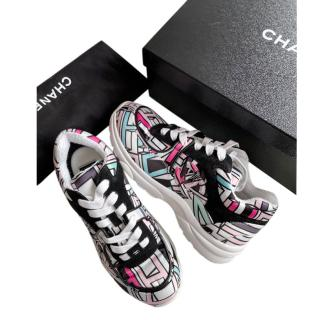 Chanel Multi-Coloured Graphic Logo Print Sneakers