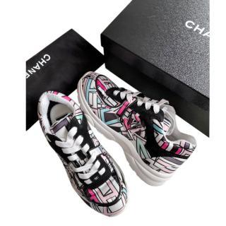 Chanel Multi-Coloured Graphic Logo Print Sneakers