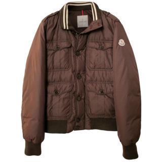 Moncler Brown Down Bomber Jacket