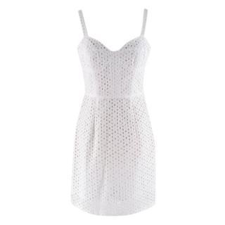 Milly White Cotton Lace Mini Dress