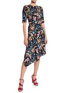 Peter Pilotto Floral Print Asymmetric Dress
