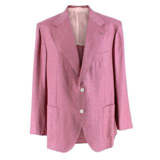 Donato Liguori Pink Cotton Blend Tailored Blazer Jacket