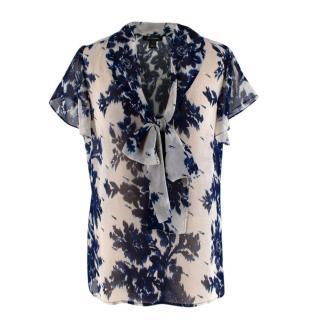 St. John White & Blue Silk Floral Pattern Top