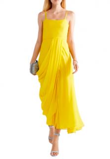 Carolina Herrera Yellow Silk Georgette Wrap Style Midi Dress
