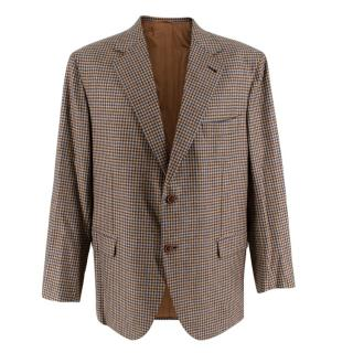Donato Liguori Brown & Blue Gingham Cashmere Blend Tailored Jacket