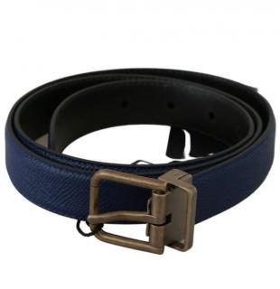 Dolce & Gabbana Blue Leather Belt