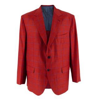 Donato Liguori Red Checkered Cotton Blend Tailored Blazer Jacket