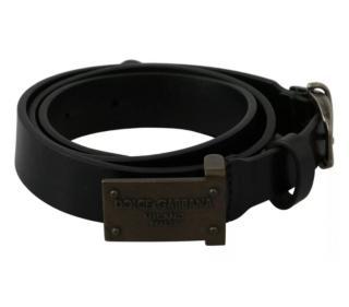 Dolce & Gabbana Black Leather Mens Belt