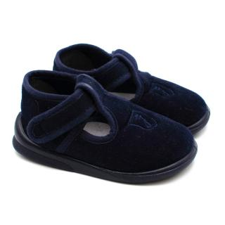 Jacadi Navy Velvet Embroidered Shoes