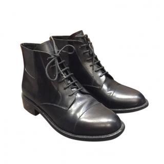 Saint Laurent Black Leather Lace-Up Boots