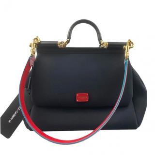 Dolce & Gabbana Black Neoprene Sicily Top Handle bag