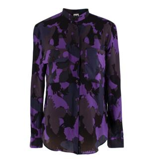 M Missoni Purple Butterfly Camo Print Long Sleeve Shirt