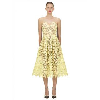 Self-Portrait Yellow Azaelea Midi Dress