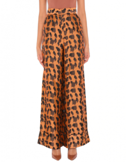 Just Cavalli Brown Leopard Print Palazzo Pants