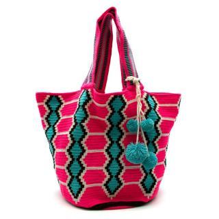 Sophie Anderson Neon Pink Inez Woven Shopper Bag