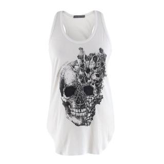 Alexander McQueen White Cotton Skull Tank Top