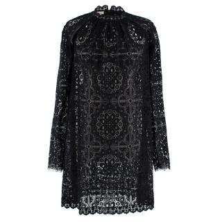 Temperley Black Lace Long Sleeve Mini Dress