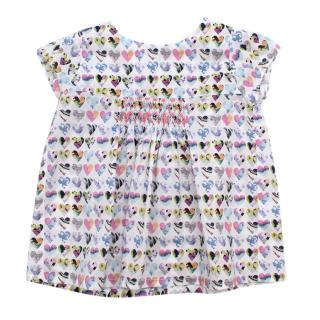 Fleurisse White Heart Print Cotton Smocking Embroidery Dress