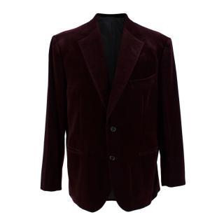 Donato Liguori Burgundy Hand Tailored Velvet Cotton Blazer
