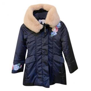 Monnalisa Navy Fur Trimmed Puffer Coat