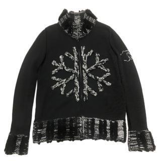 Chanel Black & White Snowflake Cashmere & Wool Cardigan