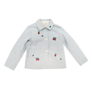 Bonpoint Cherry Applique Seersucker Jacket