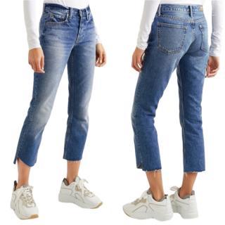 GRLFRND Tatum Mid Rise Crop Jeans in Turn Blue