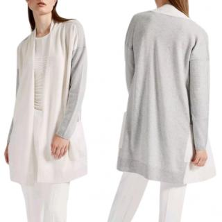 Max Mara Two-Tone Cashmere Open Cardigan