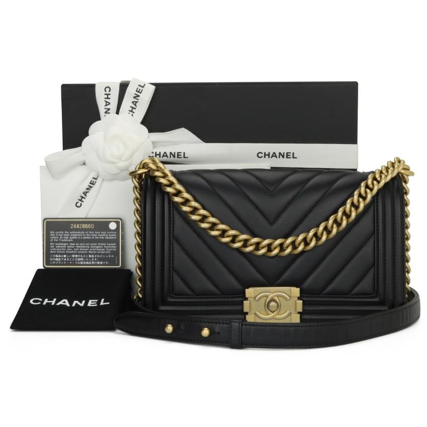 Chanel Black Chevron Medium Boy Bag with Brushed Gold Hardware
