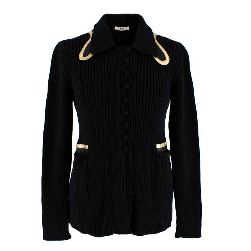 Prada Black Ribbed Knitted Cardigan with Gold Leather Trim