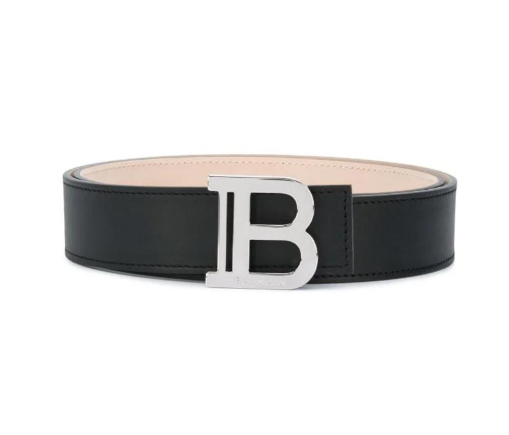 Balmain Black Leather B Logo Belt
