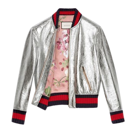 Gucci Crackle Silver Leather Bomber Jacket