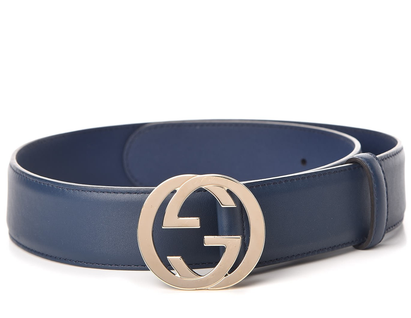 Gucci Blue Leather belt with interlocking G