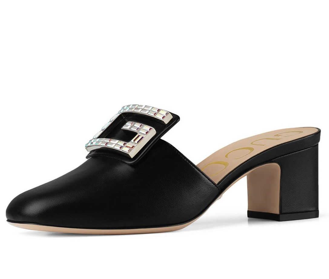 Gucci Black Crystal G Madelyn 55 Mules SIZE 40.5