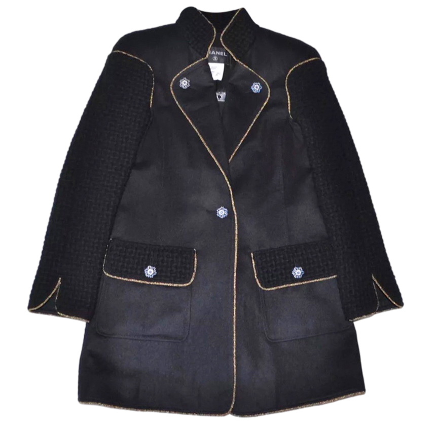Chanel Wool Tweed Panelled Coat with Embellished Buttons